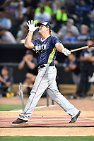Sheldon Neuse of the Hagerstown Sun swings at a pitch during the home run derby as part of the All Star Game festivities at Spirit Communications Park on June 19, 2017 in Columbia, South Carolina. The Soldiers defeated the Celebrities 1-0. (Tony Farlow/Four Seam Images)