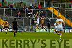 Kerry's Mikey Boyle and Oisin Kelly of Offaly having a mid air battle in the Joe McDonagh Cup relegation game in Tralee on Saturday