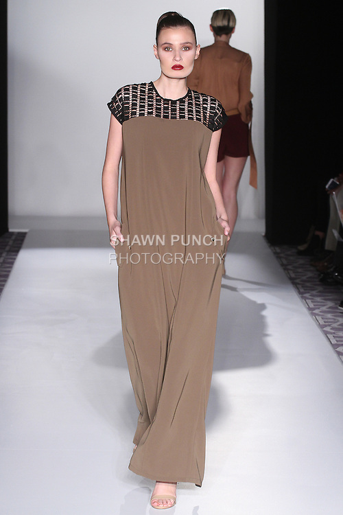 Model walks runway in an outfit from the CLD-Charu Lochan Dass Fall 2016 collection by Charu Lochan Dass, for the Pret-A-Porter Fall Winter 2016 fashion show at Fashion Gallery New York Fashion Week, during New York Fashion Week Fall 2016.