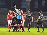 Crewe Alexandra's Paul Green is shown a yellow card by referee Christopher Sarginson<br /> <br /> Photographer Andrew Vaughan/CameraSport<br /> <br /> The EFL Sky Bet League Two - Crewe Alexandra v Lincoln City - Wednesday 26th December 2018 - Alexandra Stadium - Crewe<br /> <br /> World Copyright &copy; 2018 CameraSport. All rights reserved. 43 Linden Ave. Countesthorpe. Leicester. England. LE8 5PG - Tel: +44 (0) 116 277 4147 - admin@camerasport.com - www.camerasport.com