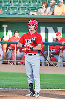 Brendon Sanger (7) of the Orem Owlz at bat against the Ogden Raptors in Pioneer League action at Lindquist Field on June 18, 2015 in Ogden, Utah.  This was Opening Night play of the 2015 Pioneer League season. (Stephen Smith/Four Seam Images)