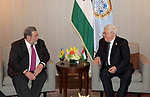 Palestinian President Mahmoud Abbas, meets with Prime Minister of Vincent and the Grenadines in New York, United States on September 23, 2019. Photo by Thaer Ganaim