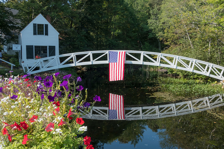 This well known beautiful little arched white bridge in Somesville on Mt. Desert Island is a show-stopper alongside the road.