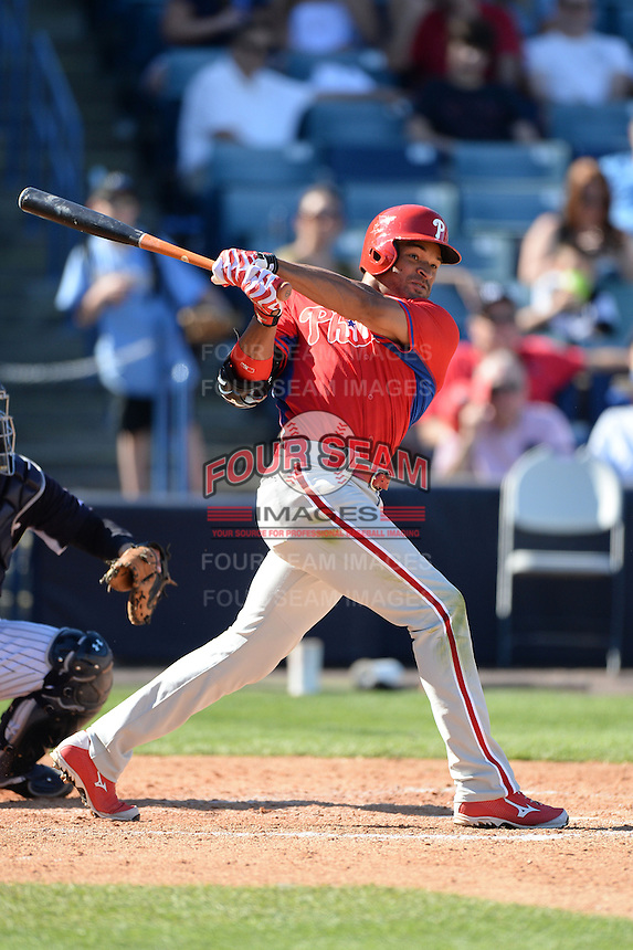 Philadelphia Phillies outfielder Tyson Gillies (64) during a spring training game against the New York Yankees on March 1, 2014 at Steinbrenner Field in Tampa, Florida.  New York defeated Philadelphia 4-0.  (Mike Janes/Four Seam Images)