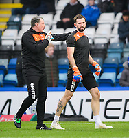 Blackpool's goalkeeping coach Dave Timmins, left, and Blackpool's Mark Howard during the pre-match warm-up<br /> <br /> Photographer Chris Vaughan/CameraSport<br /> <br /> The EFL Sky Bet League One - Rochdale v Blackpool - Wednesday 26th December 2018 - Spotland Stadium - Rochdale<br /> <br /> World Copyright &copy; 2018 CameraSport. All rights reserved. 43 Linden Ave. Countesthorpe. Leicester. England. LE8 5PG - Tel: +44 (0) 116 277 4147 - admin@camerasport.com - www.camerasport.com