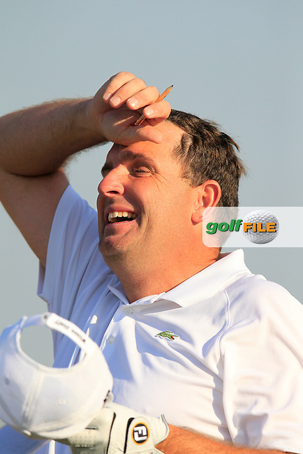 Anthony Wall (ENG) has a laugh on the 13th tee during Wednesday's Round 1 of the 2015 Commercial Bank Qatar Masters held at Doha Golf Club, Doha, Qatar.: Picture Eoin Clarke, www.golffile.ie: 1/21/2015