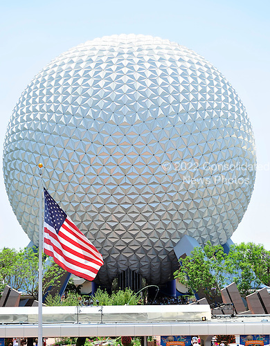 Spaceship Earth Attraction near the entrance to the Epcot theme park in the Walt Disney World Resort in Lake Buena Vista, Florida on Sunday, May 9, 2010..Credit: Ron Sachs / CNP