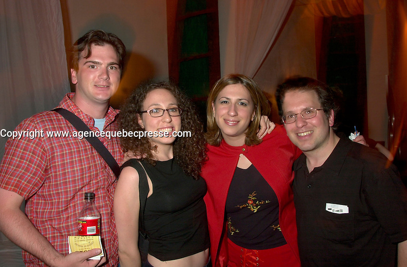 June 4 2002, Montreal, Quebec, Canada<br /> <br /> Steve Burns (L) and guest Anne Lang (M-L), from Just For Laugh Festival, Stuart Nulman, host, CJAD 800 AM (R) and guest Tara Silver (M-R)<br /> enjoy a party at ilume club, in Montreal, JUne 4, 2002 after the opening of Mark  McKinney's play ; Fully Committed.<br /> <br /> Formelly of The Kids In The Hall Canadian TV show, McKinney now based in New York, plays in movies and TV series such as DICE, Brain Candy, ... as well as doing comedy and theater.<br /> <br /> Mandatory Credit: Photo by Pierre Roussel- Images Distribution. (&copy;) Copyright 2002 by Pierre Roussel <br /> <br /> NOTE :l Nikon D-1 jpeg opened with Qimage icc profile, saved in Adobe 1998 RGB.