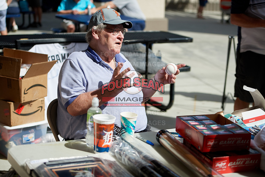 Former Detroit Tigers star pitcher Denny McLain signs autographs and talks with fans on the concourse during a Grapefruit League Spring Training game against the Atlanta Braves on March 2, 2019 at Publix Field at Joker Marchant Stadium in Lakeland, Florida.  McClain, 74, played for the Washington Senators, Oakland Athletics, and Atlanta Braves as well as the Tigers.  He was a 3x All-Star, World Series Champion, American League MVP, 2x Cy Young Award Winner, and the last pitcher to win 30 games in a season.  Tigers defeated the Braves 7-4.  (Mike Janes/Four Seam Images)