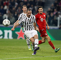 Calcio, andata degli ottavi di finale di Champions League: Juventus vs Bayern Monaco. Torino, Juventus Stadium, 23 febbraio 2016. <br /> Juventus&rsquo; Leonardo Bonucci kicks the ball during the Champions League round of 16 first leg soccer match between Juventus and Bayern at Turin's Juventus Stadium, 23 February 2016.<br /> UPDATE IMAGES PRESS/Isabella Bonotto