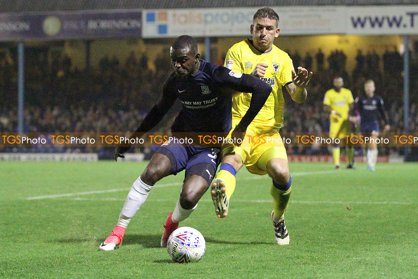 Theo Robinson of Southend United wins the ball off Cody McDonald of AFC Wimbledon for the ball during Southend United vs AFC Wimbledon, Sky Bet EFL League 1 Football at Roots Hall on 26th September 2017