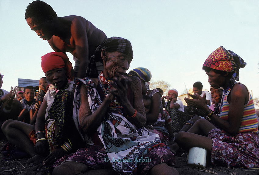 San Bushman in trance during a healing ceremony.Tchumkwe, Bushman development foundation.  Namibia.