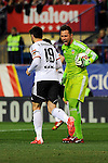 Valencia CF´s goalkeeper Diego Alves quarrel Antonio Barragan during 2014-15 La Liga match between Atletico de Madrid and Valencia CF at Vicente Calderon stadium in Madrid, Spain. March 08, 2015. (ALTERPHOTOS/Luis Fernandez)
