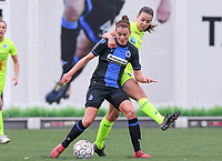 20191123 – BRUGGE, BELGIUM : Brugge's Charlotte Laridon pictured in a duel with Gent's Silke Vanwynsberghe during a women soccer game between Dames Club Brugge and K AA Gent Ladies on the ninth matchday of the Belgian Superleague season 2019-2020 , the Belgian women's football  top division , saturday 23 th November 2019 at the Jan Breydelstadium – terrain 4  in Brugge  , Belgium  .  PHOTO SPORTPIX.BE | DAVID CATRY
