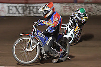 Heat 13: Andreas Jonsson (red) and Hans Andersen (green) - Lakeside Hammers vs Coventry Bees - Craven Shield Final 1st Leg at The Arena Essex Raceway, Lakeside - 16/10/08 - MANDATORY CREDIT: Rob Newell/TGSPHOTO
