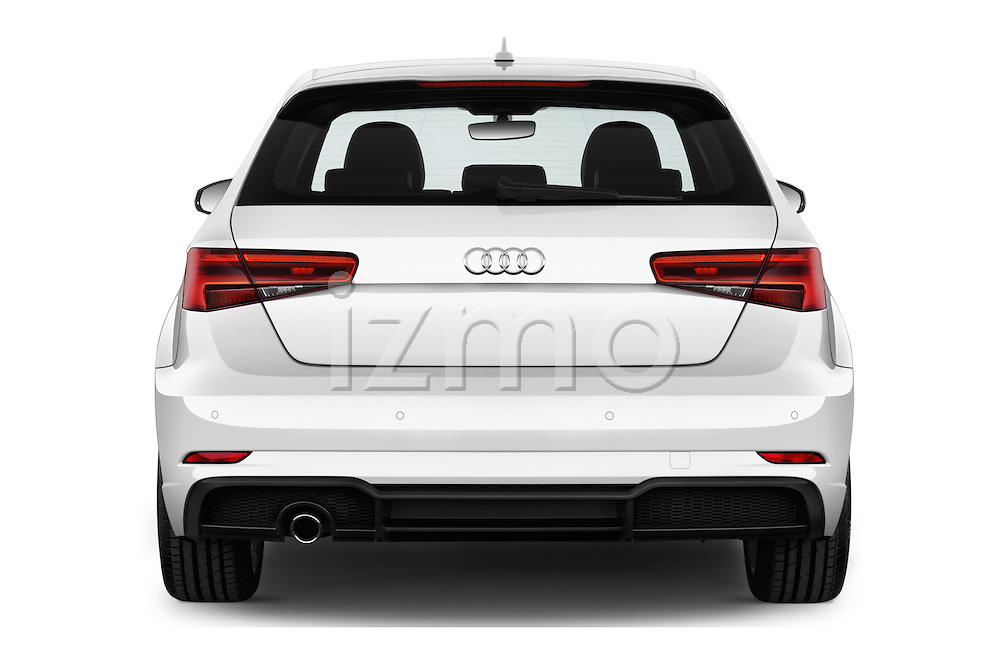 Straight rear view of 2017 Audi A3 Sport 3 Door Hatchback Rear View  stock images