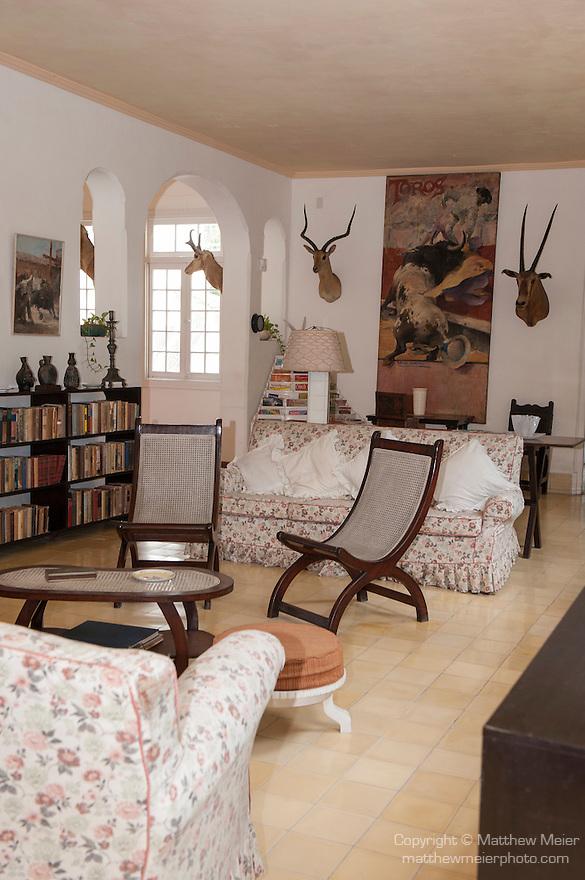 Finca La Vigia, San Francisco de Paula, Cuba; a view of the living room inside the house at the Hemingway Museum