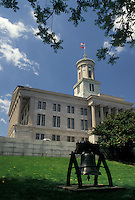 AJ4153, Nashville, State Capitol, State House, Tennessee, The State Capitol Building of Greek Revival architecture and Liberty Bell in the capital city of Nashville in the state of Tennessee.