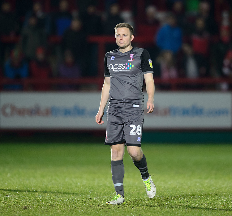 Lincoln City's Tom Shaw<br /> <br /> Photographer Andrew Vaughan/CameraSport<br /> <br /> The EFL Checkatrade Trophy Second Round - Accrington Stanley v Lincoln City - Crown Ground - Accrington<br />  <br /> World Copyright © 2018 CameraSport. All rights reserved. 43 Linden Ave. Countesthorpe. Leicester. England. LE8 5PG - Tel: +44 (0) 116 277 4147 - admin@camerasport.com - www.camerasport.com