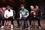 "Giuseppe Bausilio, Thayne Jasperson and Terrance Spencer during the eduHAM Q & A before The Rockefeller Foundation and The Gilder Lehrman Institute of American History sponsored High School student #EduHam matinee performance of ""Hamilton"" at the Richard Rodgers Theatre on November 20, 2019 in New York City."