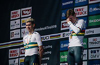 An emotional Remco Evenepoel (BEL) on the podium after he smashed the competition and became the new Junior TT World Champion<br /> <br /> MEN JUNIOR INDIVIDUAL TIME TRIAL<br /> Hall-Wattens to Innsbruck: 27.8 km<br /> <br /> UCI 2018 Road World Championships<br /> Innsbruck - Tirol / Austria