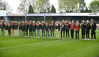 20140410 - LEUVEN , BELGIUM : Belgian Under 19 players pictured before the female soccer match between Belgium and Norway, on the seventh matchday in group 5 of the UEFA qualifying round to the FIFA Women World Cup in Canada 2015 at Stadion Den Dreef , Leuven . Thursday 10th April 2014 . PHOTO DAVID CATRY
