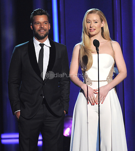 LAS VEGAS, NV - MAY 18: 5 Ricky Martin and Iggy Azalea appear on the 2014 Billboard Music Awards at the MGM Grand Garden Arena on Sunday, May 18, 2014 in Las Vegas, Nevada. PgMicelotta/MediaPunch