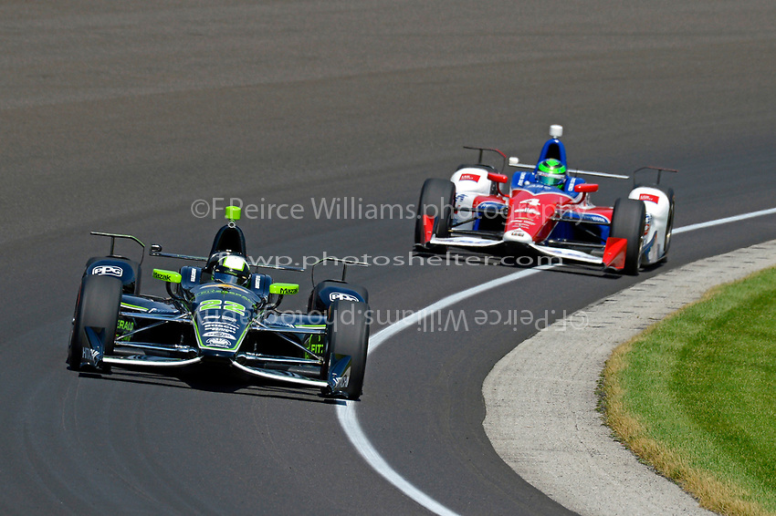 Verizon IndyCar Series<br /> Indianapolis 500 Carb Day<br /> Indianapolis Motor Speedway, Indianapolis, IN USA<br /> Friday 26 May 2017<br /> Juan Pablo Montoya, Team Penske Chevrolet, Conor Daly, A.J. Foyt Enterprises Chevrolet<br /> World Copyright: F. Peirce Williams