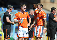 Blackpool's Oliver Turton and Harry Pritchard during a water break<br /> <br /> Photographer Kevin Barnes/CameraSport<br /> <br /> The EFL Sky Bet League One - Wycombe Wanderers v Blackpool - Saturday 4th August 2018 - Adams Park - Wycombe<br /> <br /> World Copyright &copy; 2018 CameraSport. All rights reserved. 43 Linden Ave. Countesthorpe. Leicester. England. LE8 5PG - Tel: +44 (0) 116 277 4147 - admin@camerasport.com - www.camerasport.com
