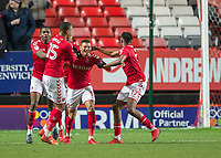 Karlan Ahearne-Grant of Charlton Athletic celebrates scoring the equalising goal during the Sky Bet League 1 match between Charlton Athletic and Peterborough at The Valley, London, England on 28 November 2017. Photo by Vince  Mignott / PRiME Media Images.