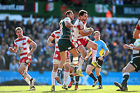 Tom Marshall of Gloucester Rugby claims the ball in the air. Aviva Premiership match, between Leicester Tigers and Gloucester Rugby on April 2, 2016 at Welford Road in Leicester, England. Photo by: Patrick Khachfe / JMP