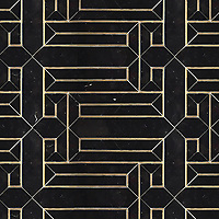 O'Toole, a stone waterjet mosaic, shown in polished Nero Marquina and Brass.