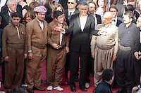 Kurdish Captain Khatoon Ali Kheder, French operator Camille Lotteau, French producer Francois Margolin, Kurdish Major General Serwan Sabir Barzani, French philosopher, writer and director Bernard-Henri Levy and Kurdish Lieutenant-General Mustafa Ali Jaafar - CANNES 2016 - MONTEE DU FILM 'THE LAST FACE'