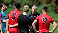 Huddersfield Town U23 Manager, Frankie Bunn speaks to his players at half-time during Millwall Under-23 vs Huddersfield Town Under-23, Professional Development League Football at Millwall Training Ground on 14th August 2017
