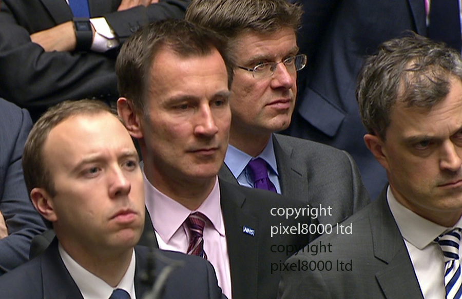 Pic shows: Jeremy Hunt looked on as Cameron spoke<br /> <br /> <br /> Mum's the word at today's PMQ's <br /> David Cameron and Jeremy Corbyn swapped jibes and mentioned their mothers at a return to yahboo politics.<br /> <br /> <br /> <br /> Picture by Pixel8000 07917221968