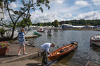 Henley on Thames. United Kingdom.  General Views, Launching their Skiff, from the Oxfordshire bank.    Thursday,  30/06/2016,      2016 Henley Royal Regatta, Henley Reach.   [Mandatory Credit Peter Spurrier/ Intersport Images] Messing about on the River.