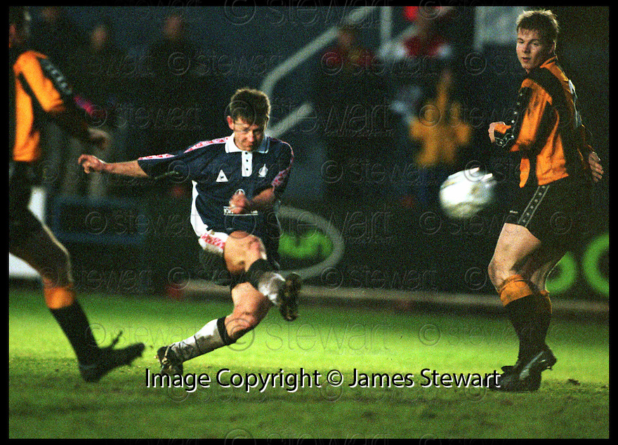 23rd jan 99      Ref : 990119.Copyright Pic : James Stewart   .FALKIRK V HUNTLY.SCOTTISH CUP 3RD ROUND.KEVIN MCALLISTER FIRES HIS SHOT INTO THE TOP CORNER AFTER TAKING ON THE WHOLE OF THE HUNTLY DEFENCE BY HIMSELF TO SCORE FALKIR'S THIRD GOAL.......Payments to :-.James Stewart Photo Agency, Stewart House, Stewart Road, Falkirk. FK2 7AS      Vat Reg No. 607 6932 25.Office : 01324 630007        Mobile : 0421 416997.E-mail : JSpics@aol.com.If you require further information then contact Jim Stewart on any of the numbers above.........