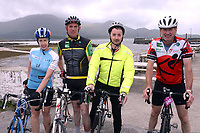 Siobhan Dennedy, Dublin, Paul Courtney, Killarney, Tim Murphy, Cork and Des O'Shea, Cahersiveen pictured at the half way break at Kilmackillogue Harbour in County Kerry whilst taking part in the annual Sneem Cycle, &ldquo;Wild Atlantic Challenge Charity Cycle&rdquo; in aid of Breakthrough Cancer Research at the weekend.<br /> Photo Don MacMonagle<br /> <br /> repro free photo<br /> Further info: Ann O'Sullivan ann@breakthroughcancerresearch.ie