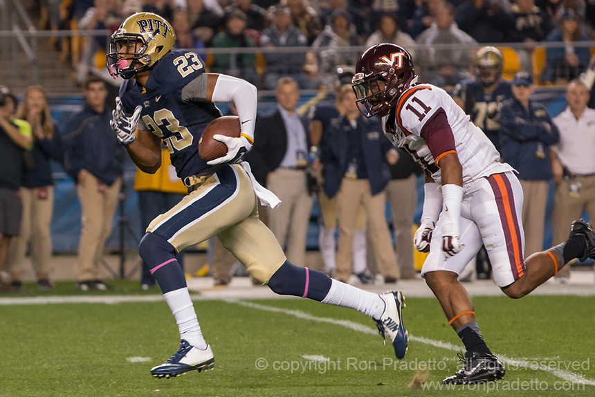Pitt wide receiver Tyler Boyd (23) runs to the endzone on a 53-yard touchdown catch.  The Pitt Panthers defeated the Virginia Tech Hokies 21-16 at Heinz Field, Pittsburgh Pennsylvania on October 16, 2014