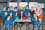 CU: The students of Mercy Mercy Mounthawk Secondry7 School, Tralee who stated their own Credit Union, and leanding an hand in setting up their CU at the school on Friday was Fintan Ryan (manager Tralee CU) and Orla O'Shea (youth development officer TCU). Front l-r: Conor O'Mahony, Marin Maher, Chloe Kissane (manager Mercy Mounthawk Secondry School CU), Fintan Ryan (manager TCU), Sarah Dillane, Cormac Leen and Shauna Fitzgerald. Back l-r: Brendan O'Connor, Megan Carney, Chris Armstrong, Chloe Neenan, Tom Lawlor (vice-chairman TCU), Sarah Morris, Cillian Cussack, Orla O'Shea (YDOTCU) and Ellie the elephant Mascot.....