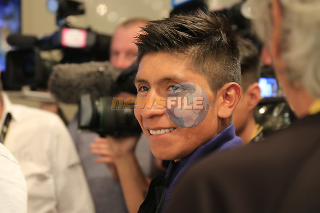 Nairo Quintana (COL) Movistar Team press conference in Dusseldorf before the 104th edition of the Tour de France 2017, Dusseldorf, Germany. 30th June 2017.<br /> Picture: Eoin Clarke | Cyclefile<br /> <br /> All photos usage must carry mandatory copyright credit (&copy; Cyclefile | Eoin Clarke)