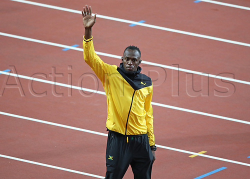 August 13th 2017, London Stadium, East London, England; IAAF World Championships, Day 10; Usain Bolt of Jamaica waves to the crowd during a final lap of honour around the track