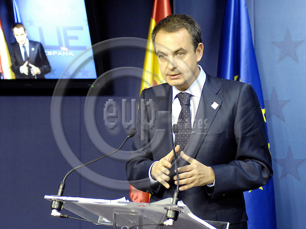 Brussels-Belgium - 14 December 2007---European Council, EU-summit under Portuguese Presidency; here, José Luis Rodríguez ZAPATERO (Jose, Rodriguez), Prime Minister of Spain, during his press conference on the outcome of the summit---Photo: Horst Wagner/eup-images