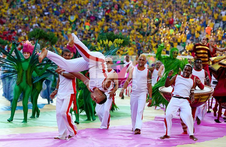 A general view of the opening ceremony of the 2014 FIFA World Cup as gymnasts perform backflips