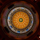 Interior of the dome of the Michigan State Capitol, which opened on January 1, 1879 in Lansing, Michigan on Saturday, June 29, 2018. It was designed by architect Elijah E. Myers, and is one of the first state capitols to be topped by a lofty cast iron dome, that was modeled on the dome of the United States Capitol in Washington, DC. <br /> Credit: Ron Sachs / CNP