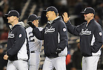 Ichiro Suzuki, Masahiro Tanaka (Yankees),<br /> APRIL 16, 2014 - MLB : Ichiro Suzuki (42), Masahiro Tanaka (C) and Brian McCann (R) of the New York Yankees celebrate after winning the Major League Baseball interleague doubleheader game 2 against the Chicago Cubs at Yankee Stadium in the Bronx, NY, USA.<br /> (Photo by AFLO)