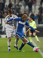 Calcio, Serie A: Juventus vs Sassuolo. Torino, Juventus Stadium, 11 marzo 2016. <br /> Sassuolo's Davide Biondini, right, is challenged by Juventus' Daniele Rugani during the Italian Serie A football match between Juventus vs Sassuolo, at Turin's Juventus Stadium, 11 March 2016.<br /> UPDATE IMAGES PRESS/Isabella Bonotto