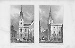 Churches St James's, Clerkenwell, St Margaret Pattens, Rood Lane, engraving 'Metropolitan Improvements, or London in the Nineteenth Century' London, England, UK 1828
