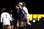 DURHAM, NC - NOVEMBER 11: UNCG's Grace Kennedy (30) and Duke's Ashton Miller (right). The Duke University Blue Devils hosted the UNCG Spartans on November 11, 2017 at Koskinen Stadium in Durham, NC in an NCAA Division I Women's Soccer Tournament First Round game. Duke won the game 1-0.