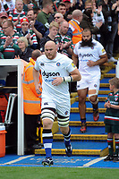 Matt Garvey leads the Bath Rugby team onto the field. Aviva Premiership match, between Leicester Tigers and Bath Rugby on September 3, 2017 at Welford Road in Leicester, England. Photo by: Patrick Khachfe / Onside Images